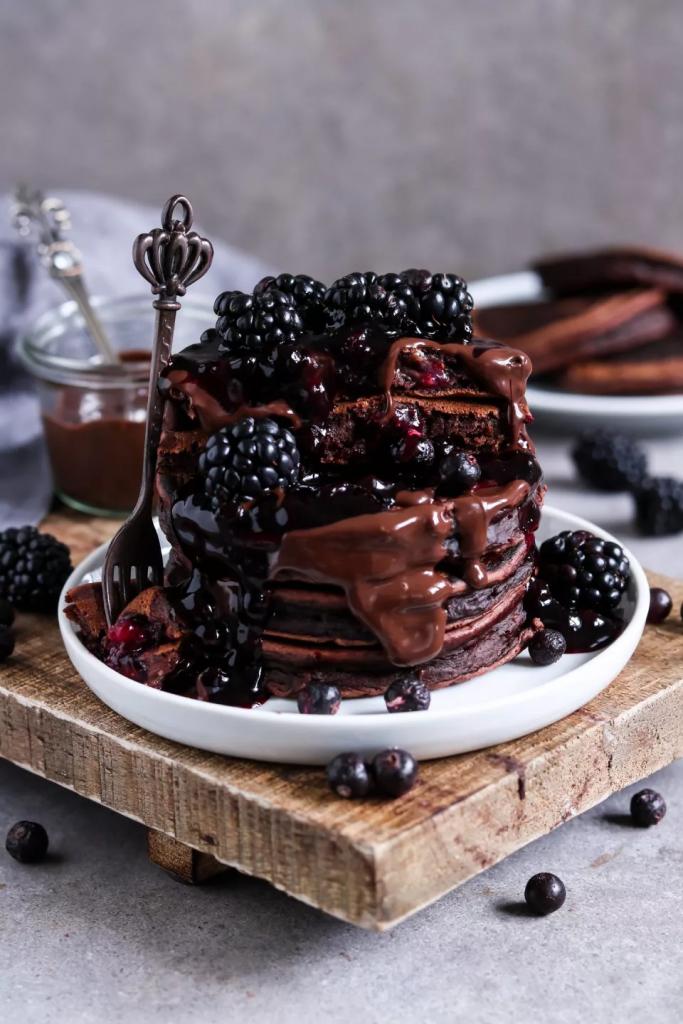 Vegan Chocolate Pancakes with Banana and Blueberries
