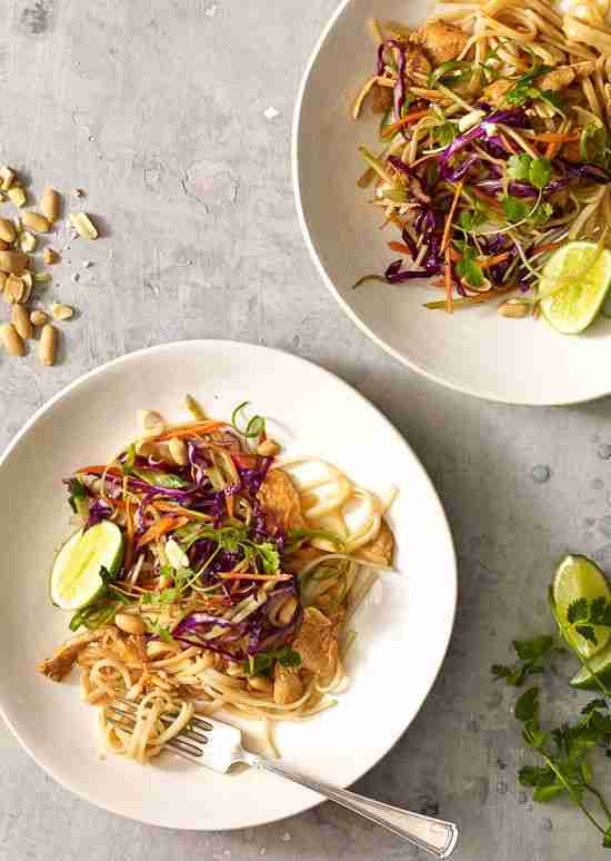 Asian Peanut Noodles with Chicken, Lightened Up