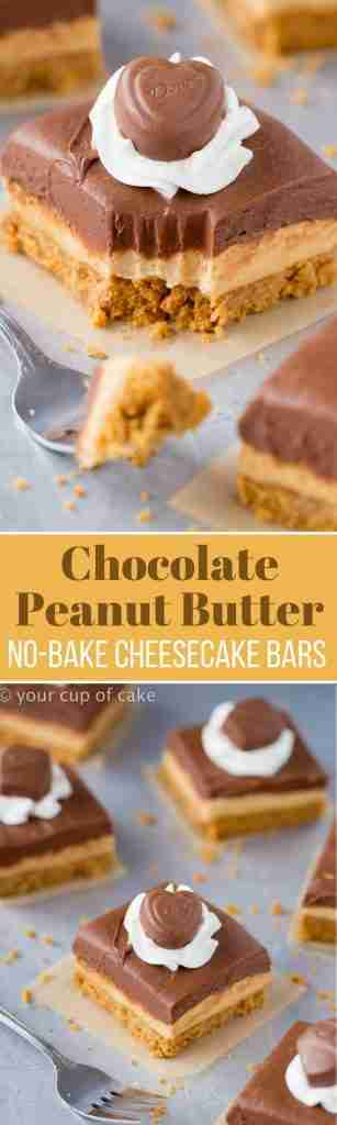 Chocolate Peanut Butter No-Bake Cheesecake Bars