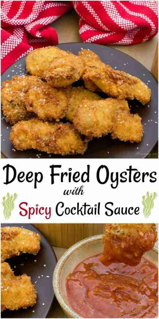 Crunchy Deep Fried Oysters with Cocktail Sauce