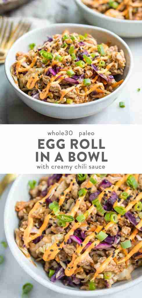 Egg Roll in a Bowl with Creamy Chili Sauce (Keto, Whole30, Paleo)