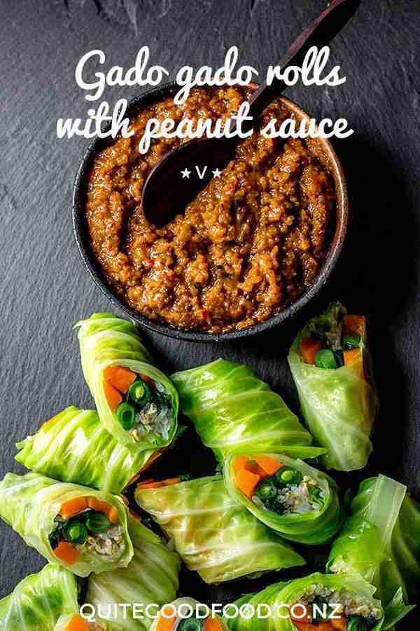Gado gado rolls with peanut sauce