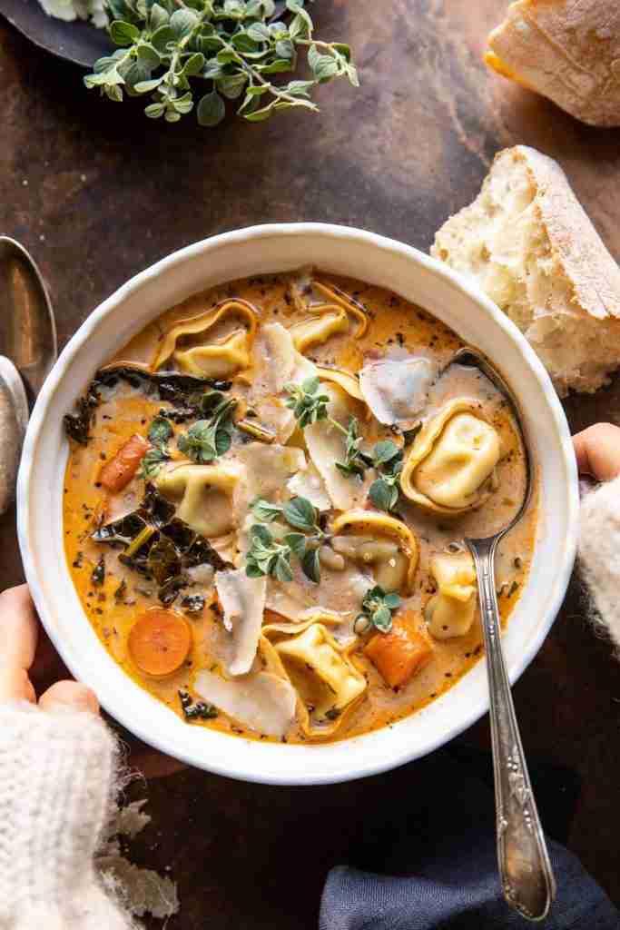 Healthier Slow Cooker Creamy Tortellini Vegetable Soup. – Half Baked Harvest