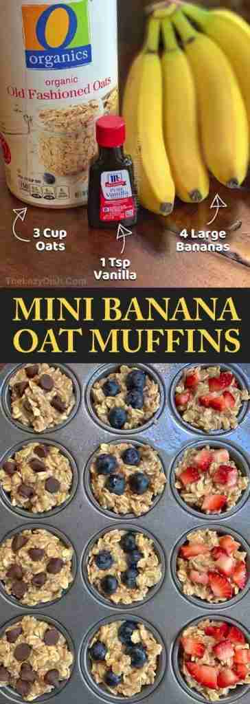 Healthy Banana Oat Muffins (3 Ingredients) – The Lazy Dish