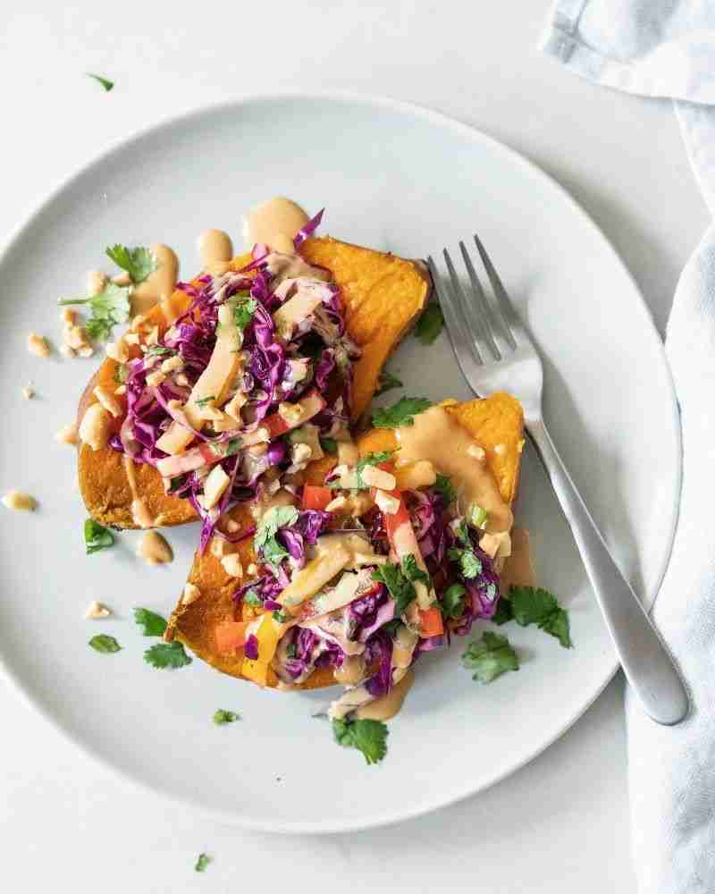 Sweet Potatoes with Thai Peanut Butter Sauce – A Couple Cooks
