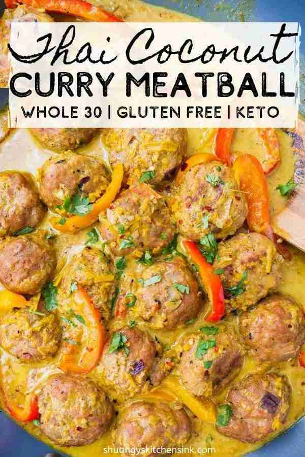 Thai Coconut Curry Meatballs {Whole30}