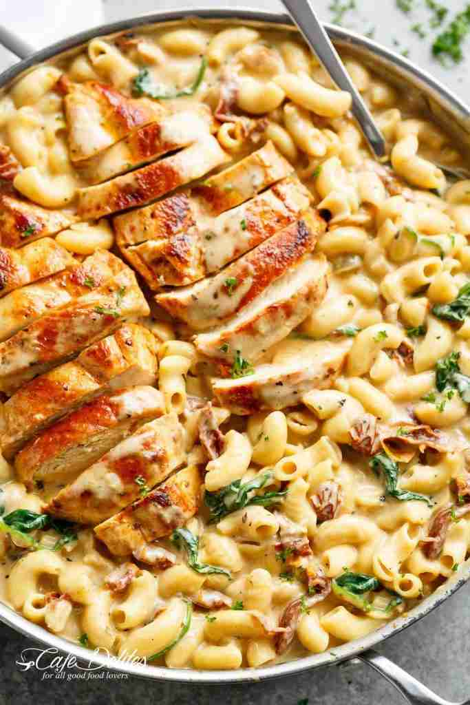 Tuscan Chicken Mac And Cheese(ONE POT, STOVE TOP)