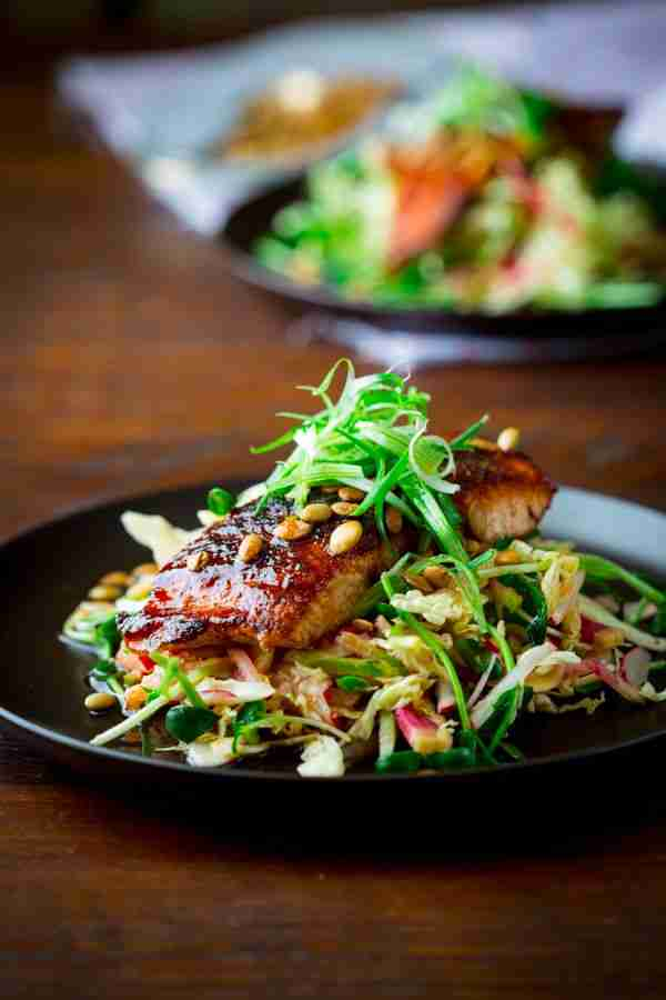 jerk spice salmon with hot and sweet slaw