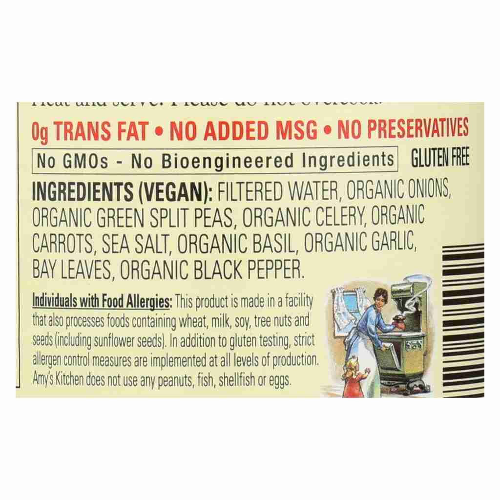 Amy's – Organic Fat Free Split Pea Soup – Case Of 12 – 14.1 Oz