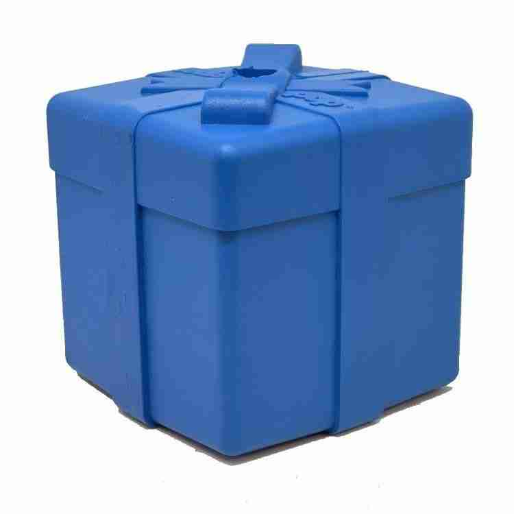 BACK IN STOCK!  SP Gift Box Durable Rubber Chew Toy & Treat Dispenser – Blue – Large Gift Box – blue (Wholesale)