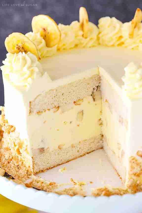 Banana Pudding Ice Cream Cake   Banana Cake Recipe