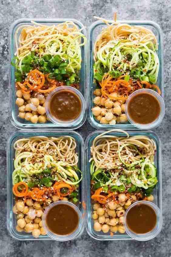 Cold Sesame Noodle Meal Prep Bowls (Vegan)