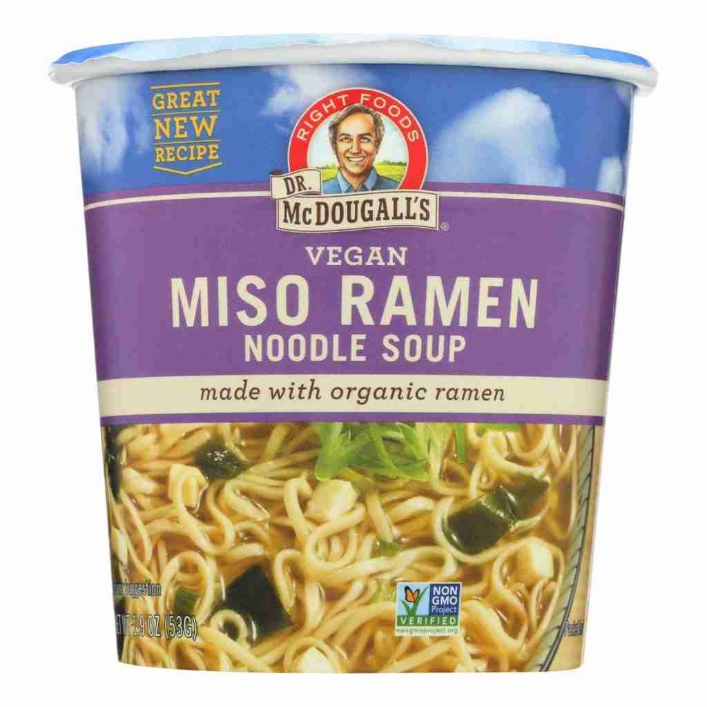 Dr. Mcdougall's Vegan Miso Ramen Soup Big Cup With Noodles – Case Of 6 – 1.9 Oz.