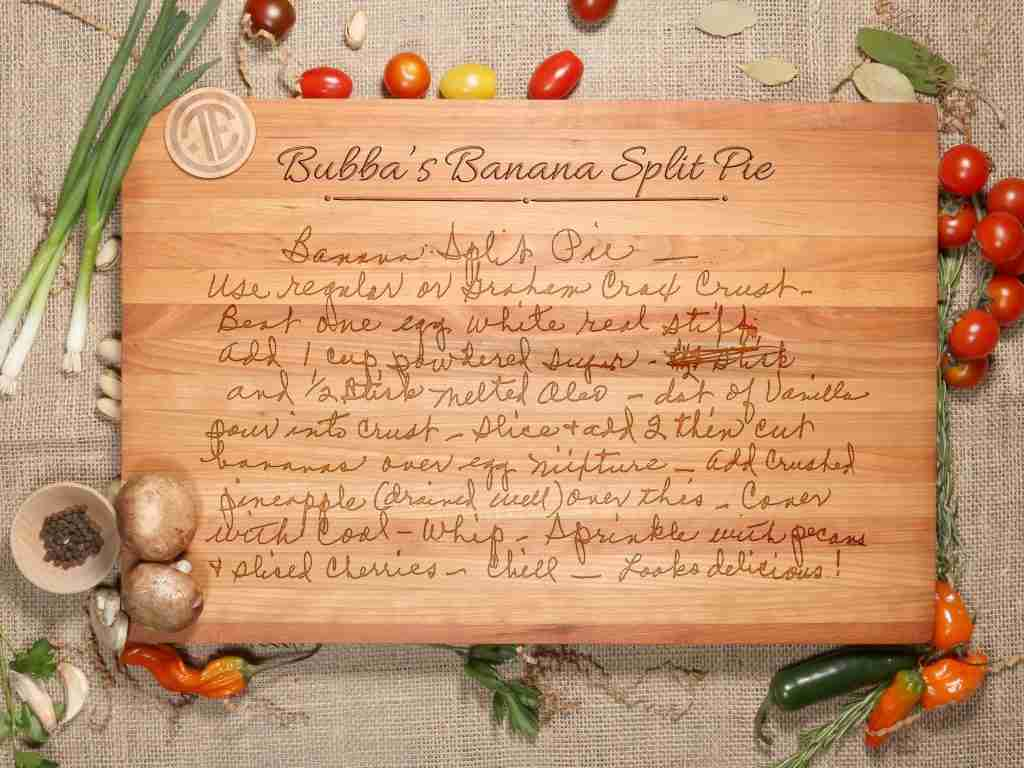 Engraved Recipe Keepsake Board – D39 – 11×17 Maple* / Add Engraved Card