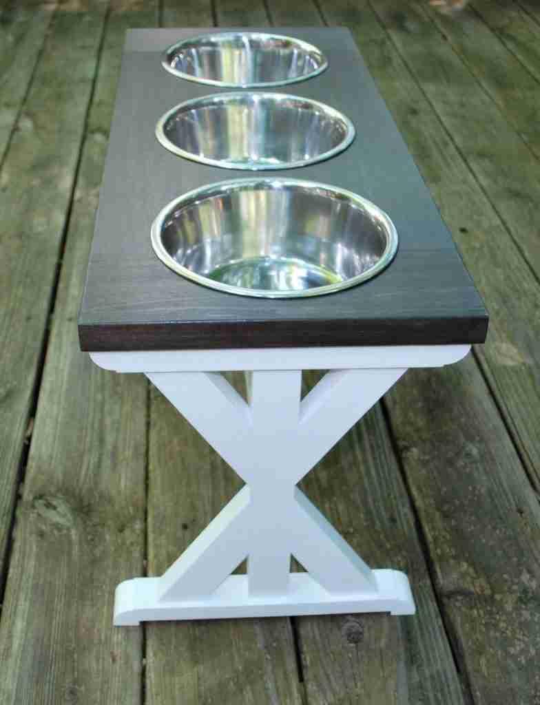 Extra Large Elevated Dog Bowl Stand – Trestle Style Farm house Table – Three Bowl Raised Dog Feeder