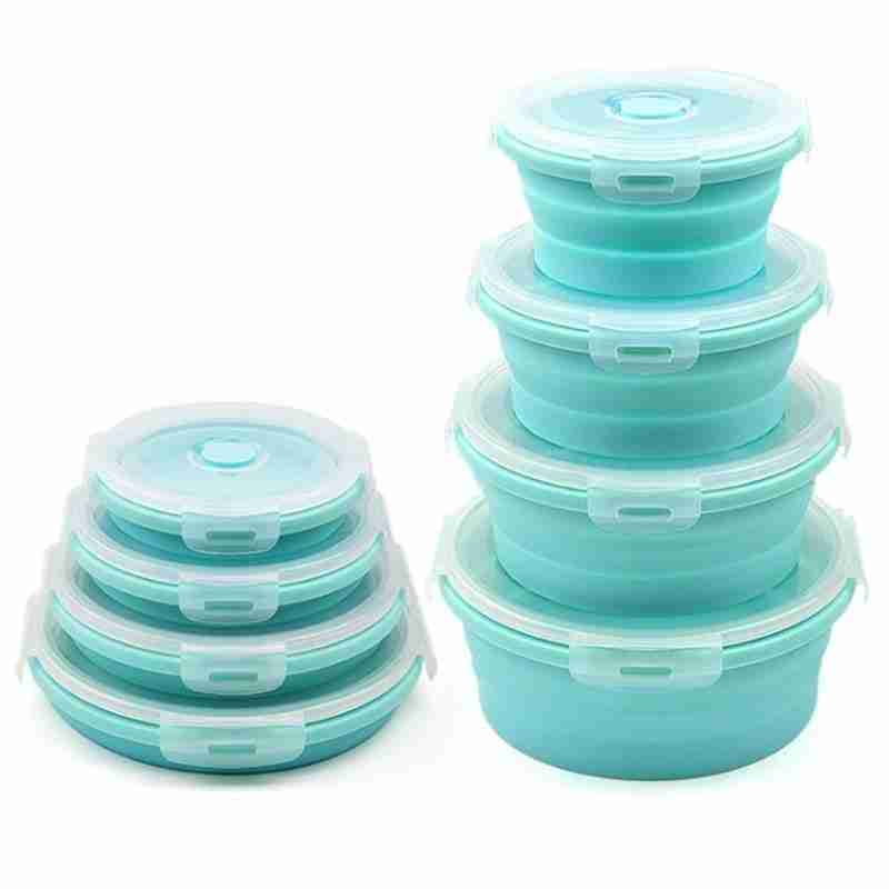 Foldable Collapsible Round Shaped Colorful Silicone Fruit Salad Storage Lunch Box – Blue / 500ML