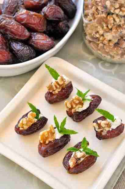 Goat Cheese Stuffed Dates with Walnuts and Mint