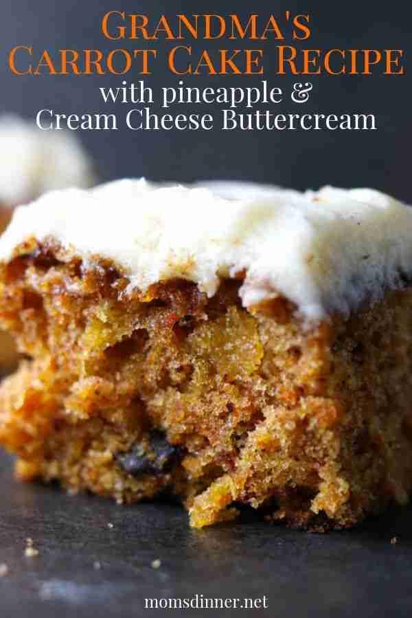 Grandma's Carrot Cake w/ Pineapple & Cream Cheese Icing | Mom's Dinner