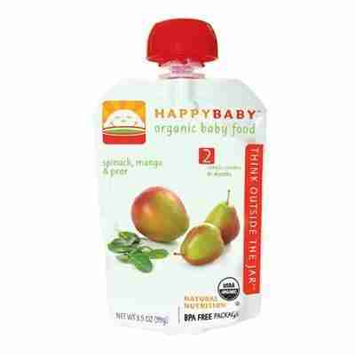 Happy Baby Organic Stage 2 Pouch Foods Spinach, Mango & Pear (16×3.5 Oz)