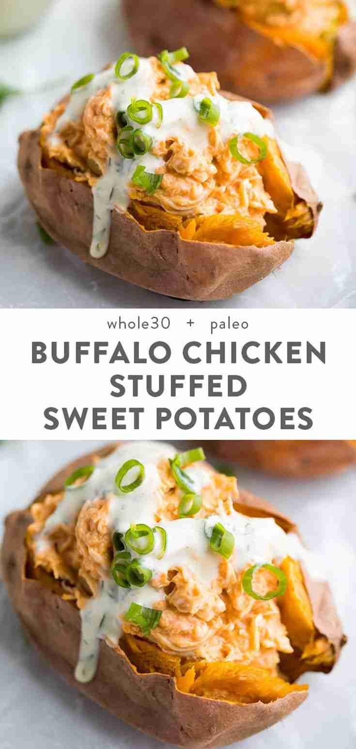 Healthy Buffalo Chicken Stuffed Sweet Potatoes (Whole30) – 40 Aprons