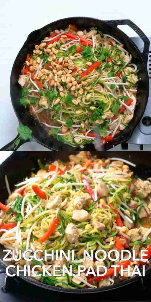 Healthy Zucchini Noodle Chicken Pad Thai (low carb)