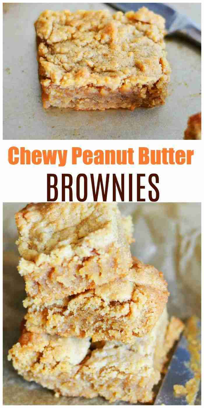 Homemade Pantry Staples Chewy Peanut Butter Brownies Recipe.