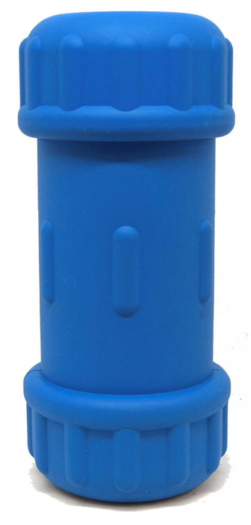 ID Bone Durable Rubber Chew Toy and Treat Dispenser – Medium – Blue – Compression Joint Chew Toy & Treat Dispenser (DROPSHIP)