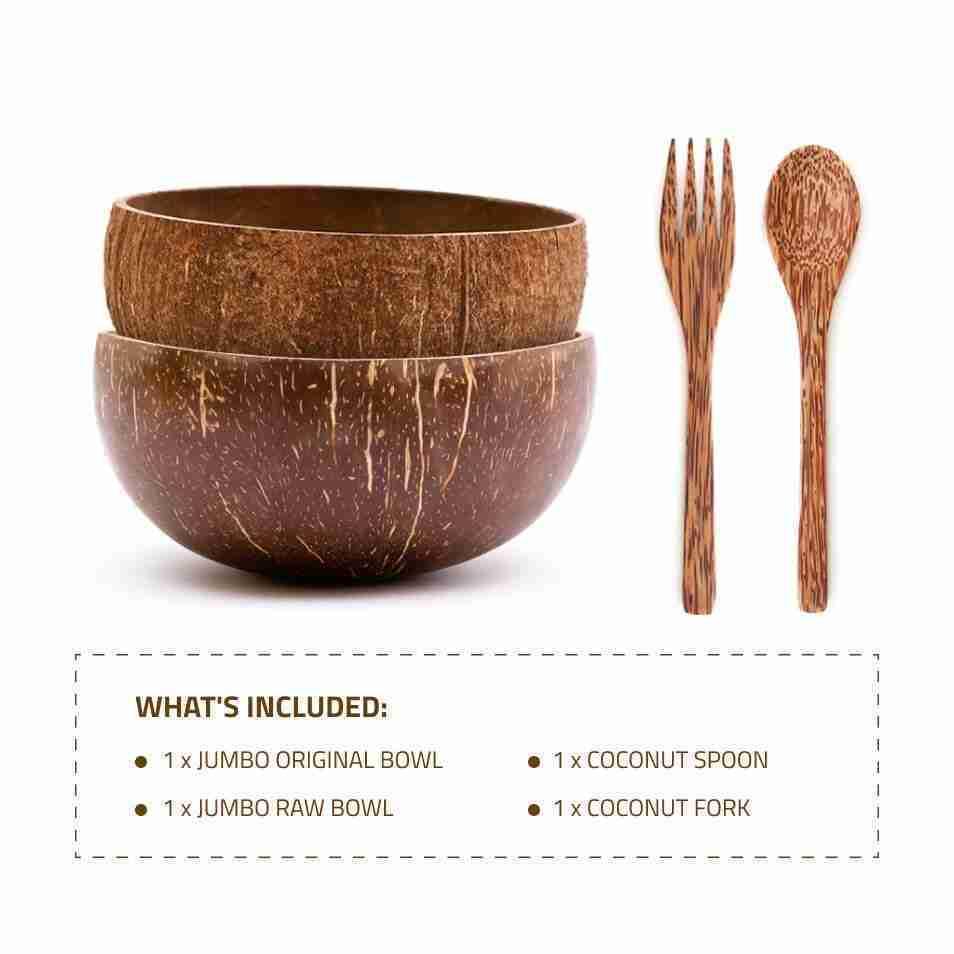 Jumbo Coconut Bowls Set w/ Wooden Utensils – Mixed / '+ Coconut spoon & fork