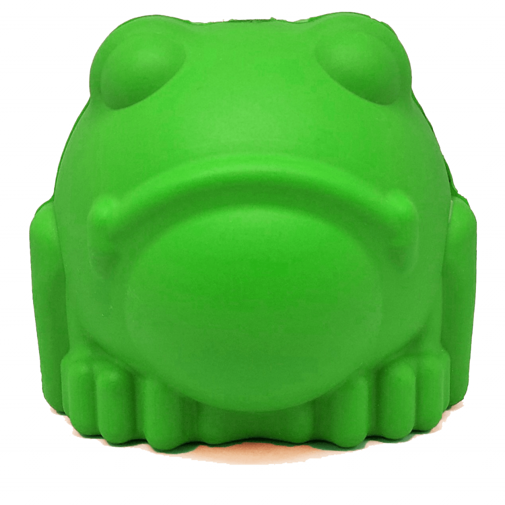 MKB Bull Frog Durable Rubber Chew Toy & Treat Dispenser – Large – Green – Bull Frog Treat Dispenser & Chew Toy (DROPSHIP)