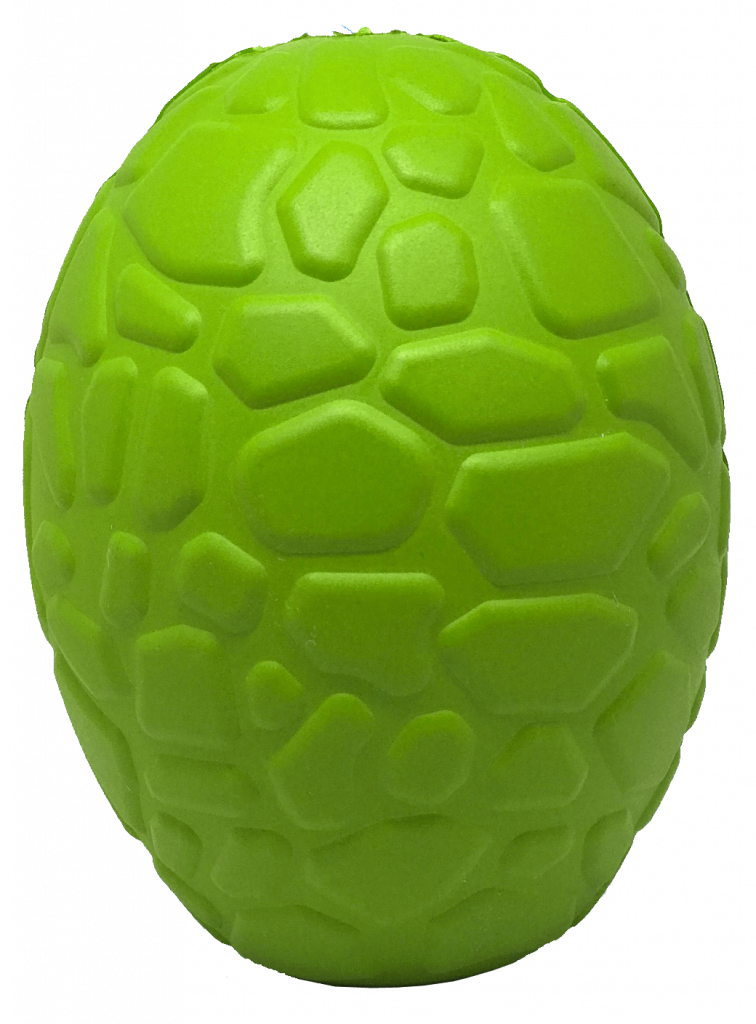 MKB Dinosaur Egg Durable Rubber Chew Toy & Treat Dispenser – Large – Green – Dino Egg Treat Dispenser & Chew Toy (INTL WHOLESALE)