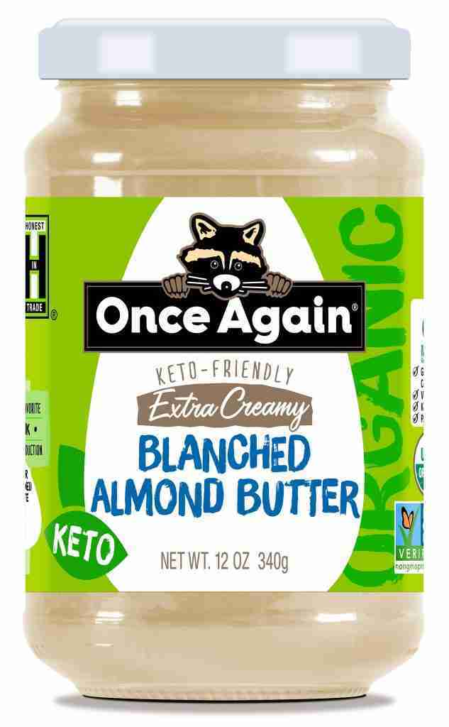 Organic Extra Creamy Blanched Almond Butter – Salt Free, Unsweetened – 12 oz – 12oz Glass Jar / Each