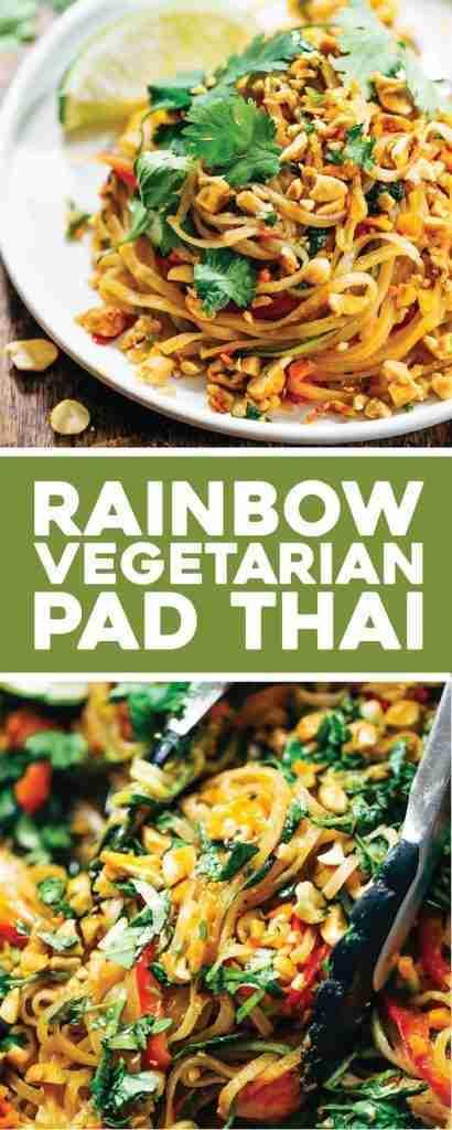 Rainbow Vegetarian Pad Thai with Peanuts and Basil – Pinch of Yum