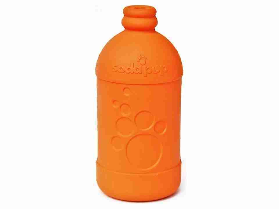 SP Beer Bottle Durable Rubber Chew Toy and Treat Dispenser – Large – Orange Squeeze – Beer Bottle- Large- Orange