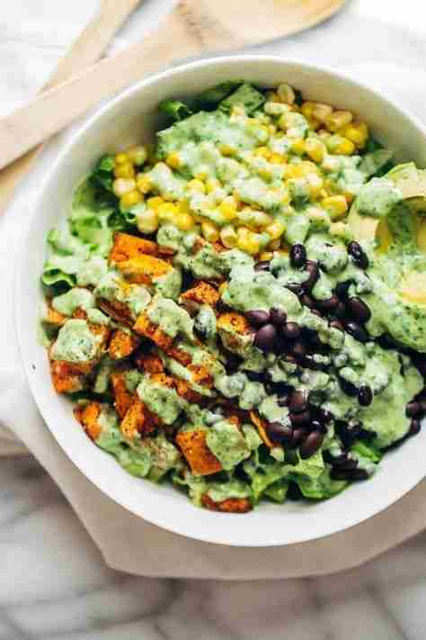 Spicy Southwestern Salad with Avocado Dressing – Pinch of Yum