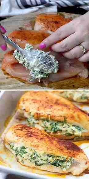 Spinach Stuffed Chicken Breasts – a healthy low carb dinner option!