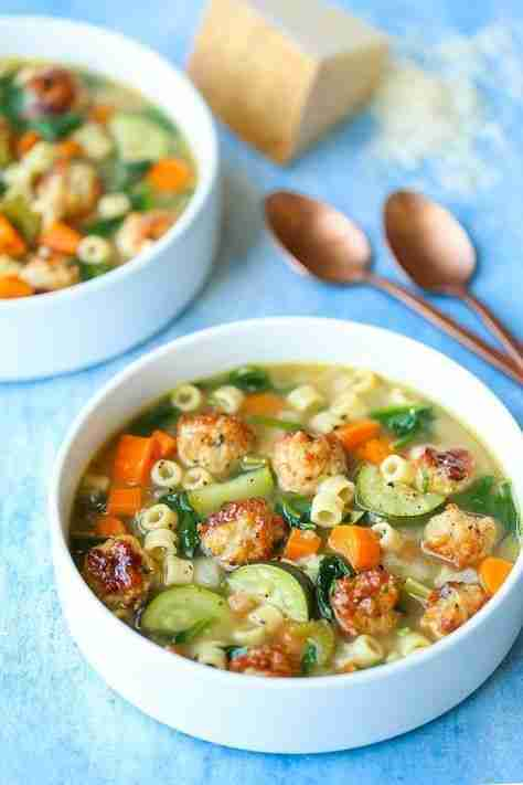 Summer Minestrone with Turkey Meatballs – Damn Delicious