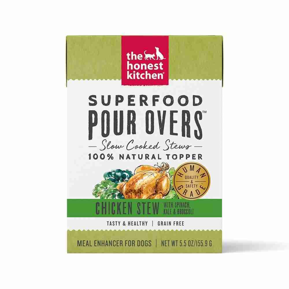The Honest Kitchen Pour Overs Grain Free Chicken Stew with Spinach, Kale & Broccoli Food Topper for Dogs – 5.5-oz, case of 12