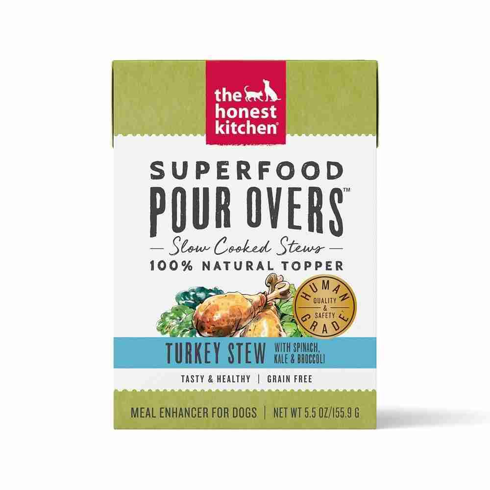 The Honest Kitchen Pour Overs Grain Free Turkey Stew with Spinach, Kale, & Broccoli Food Topper for Dogs – 5.5-oz, case of 12