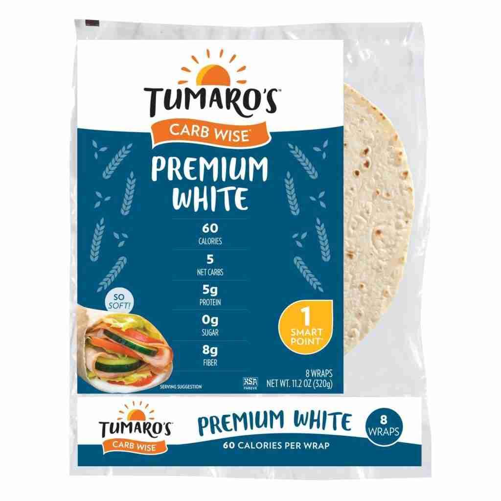 Tumaro's 8″ Carb Wise Tortilla Wraps – Premium White – Case Of 6 – 8 Count