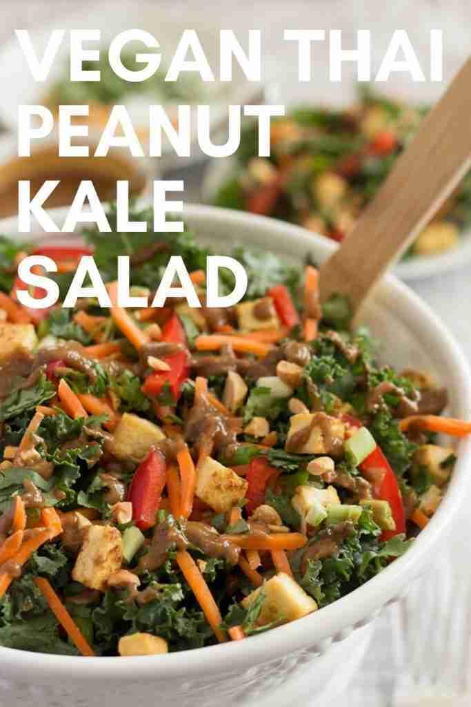 Vegan Thai Peanut Kale Salad with Crispy Tofu