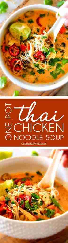 easy ONE POT Thai Chicken Noodle Soup (Video!)