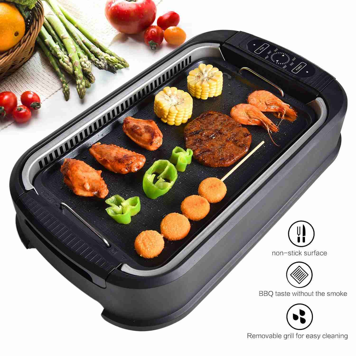 Electric BBQ Smokeless Grill Indoor Portable Nonstick Griddle Tempered Glass Lid