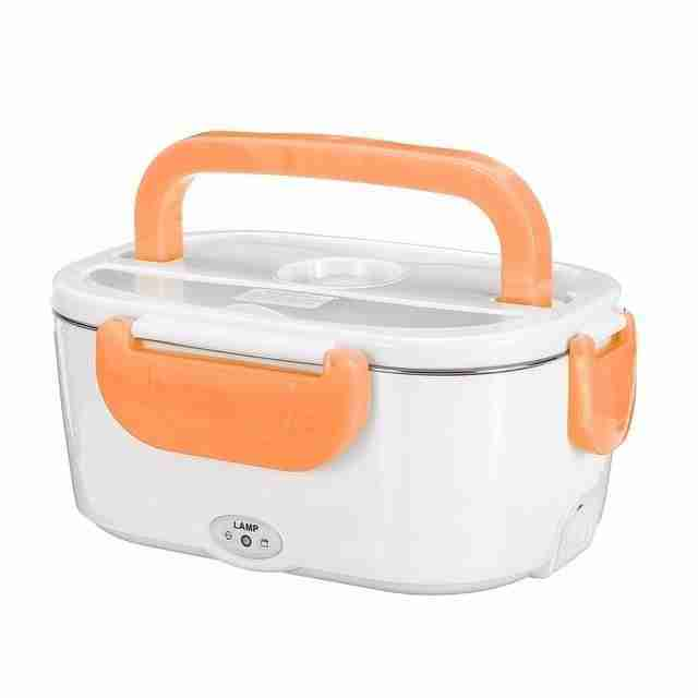 Electric Heated Lunch Box With Stainless Steel Container – 110V AC or 12V Car Adapter – Orange