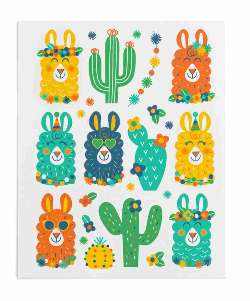 Green Party Llama Stickies® – 4 sheets/48 stickers