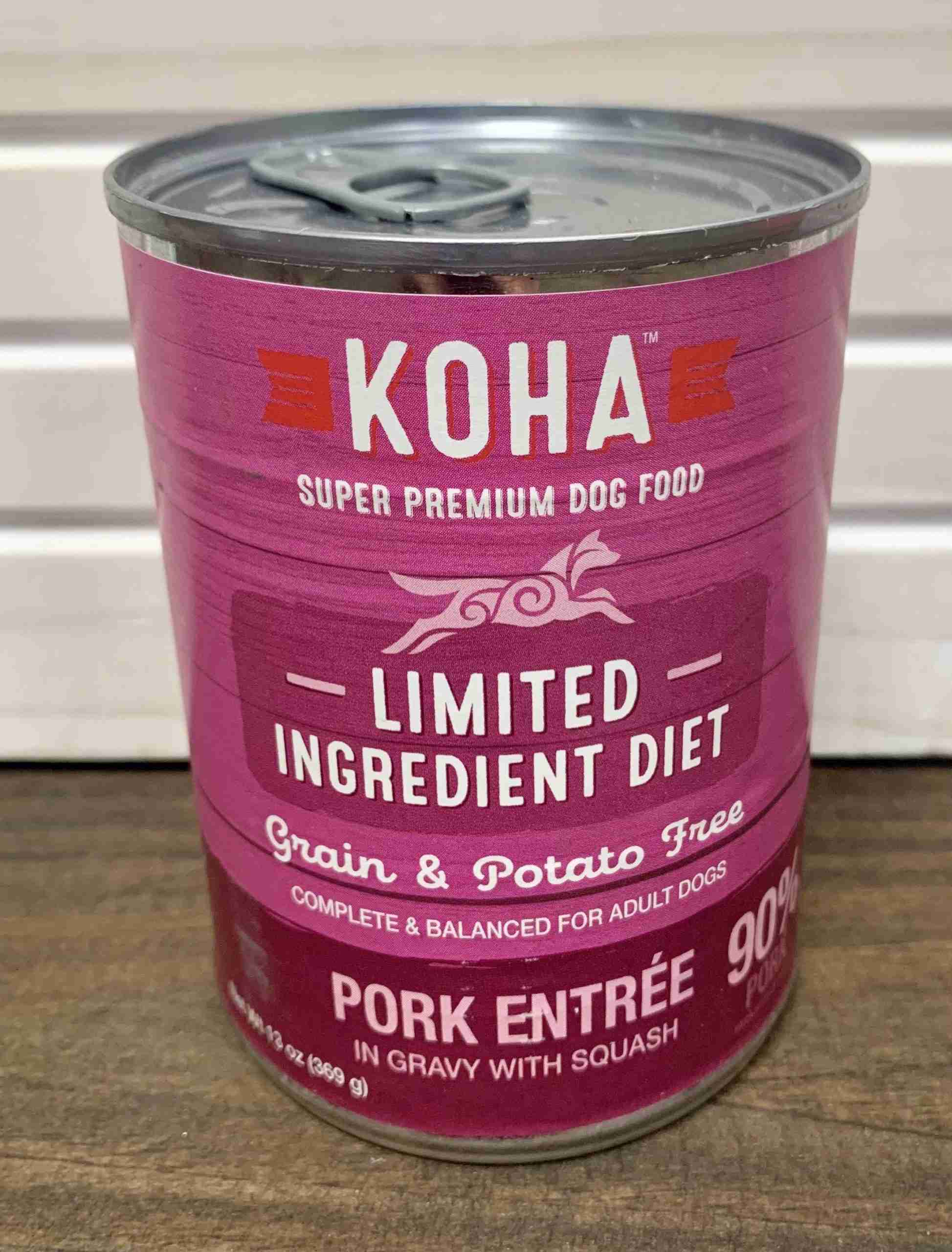 Koha Limited Ingredient Pork Entree for Dogs – One case (12 cans)