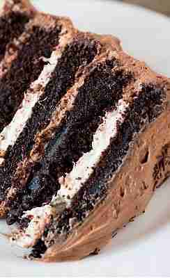 Six-Layer Chocolate Cake with Toasted Marshmallow Filling & Malted Chocolate Frosting   Brown Eyed Baker