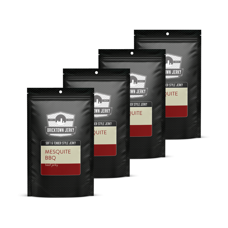Soft and Tender Style Beef Jerky – Mesquite BBQ – Quadruple the Meat – 4 Packs – (More Savings!)