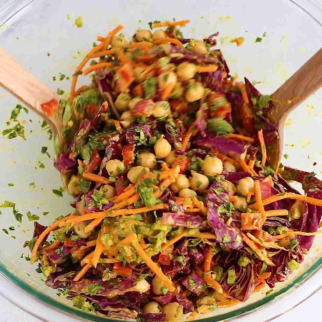 Spicy Cashew Thai Chickpea Broccoli Salad (V & GF)