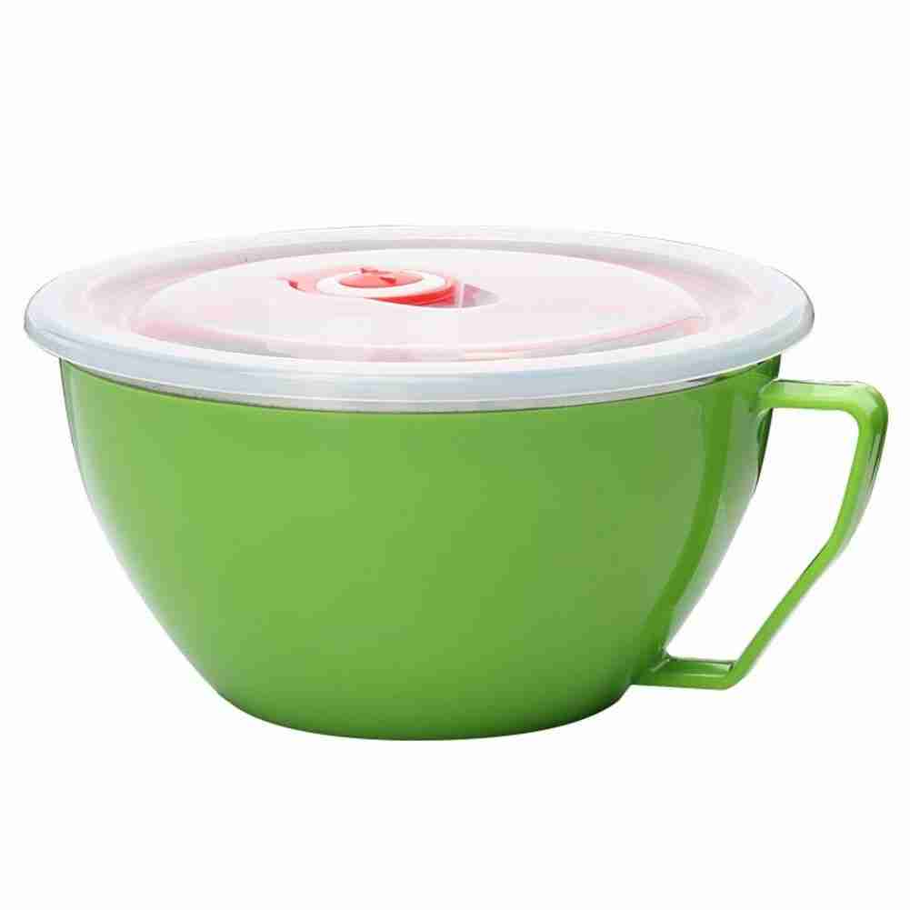 Stainless Steel Heat Insulation Anti-scald Instant Noodle Handle Bowl with Lid – Green