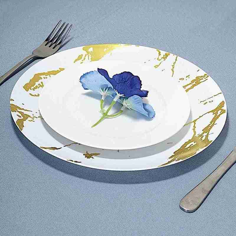 10 pcs 10″ wide White with Gold Marble Round Salad Plates – Disposable Tableware